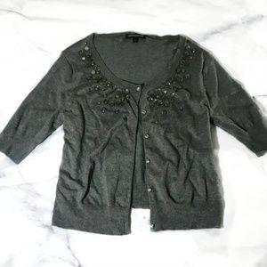 Express Grey Jeweled Neckline Cardigan Sweater